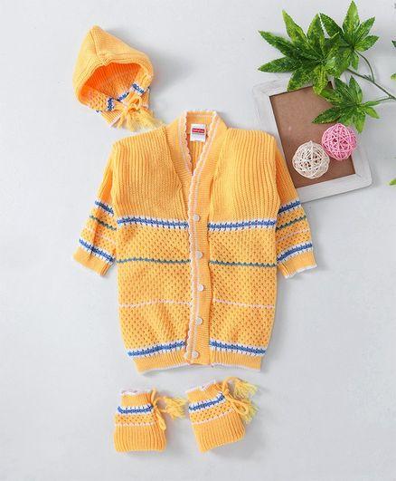 Babyhug Full Sleeves Sweater Tie Knot Cap & Booties Set - Yellow