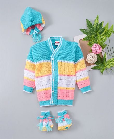 Babyhug Full Sleeves Sweater With Cap & Booties Striped - Multicolour