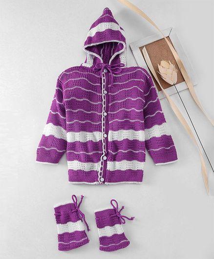 Babyhug Full Sleeves Hooded Sweater With Booties - Purple