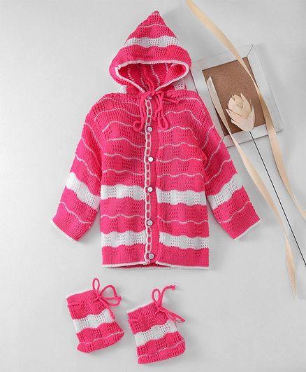 Babyhug Full Sleeves Hooded Sweater With Booties - Pink