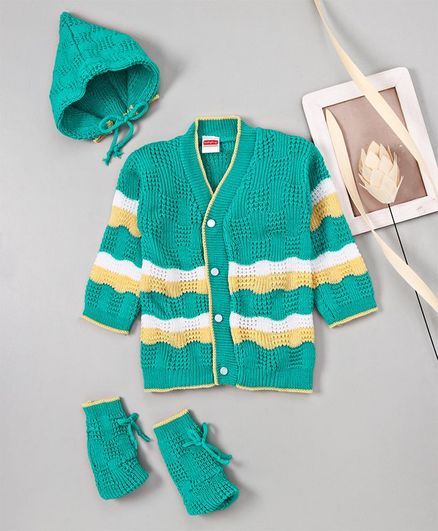 Babyhug Full Sleeves Sweater With Cap & Booties - Green