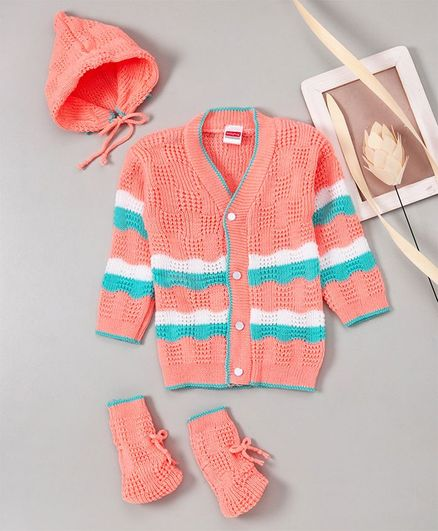 Babyhug Full Sleeves Sweater With Cap & Booties - Peach