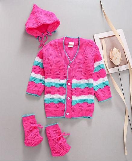 Babyhug Full Sleeves Sweater With Cap & Booties - Dark Pink