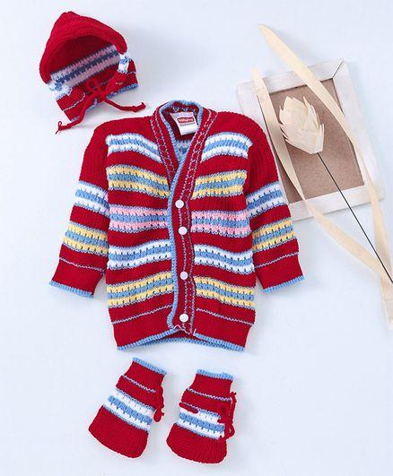 Babyhug Full Sleeves Sweater Tie Knot Cap & Booties Set - Maroon