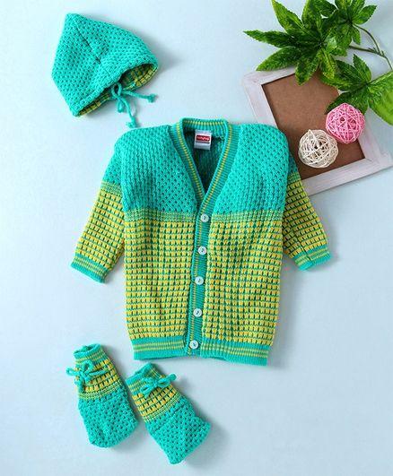 Babyhug Full Sleeves Sweater Cap & Booties Set - Green