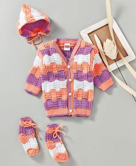 Babyhug Full Sleeves Sweater With Cap & Booties - Purple & Peach