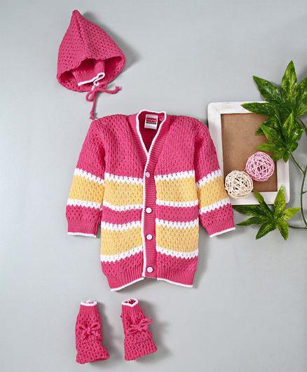 Babyhug Full Sleeves Sweater Tie Knot Cap & Booties Set - Pink