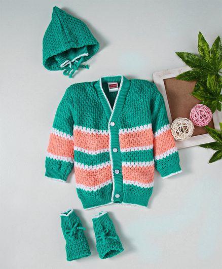 Babyhug Full Sleeves Sweater Tie Knot Cap & Booties Set - Green