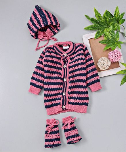 Babyhug Full Sleeves Striped Sweater Cap & Booties Set -  Pink Blue