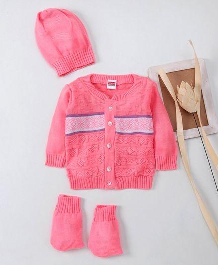 Babyhug Full Sleeves Sweater With Cap & Booties - Pink