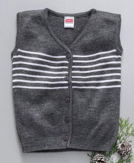 Babyhug Sleeveless Front Open Sweater Vest - Grey