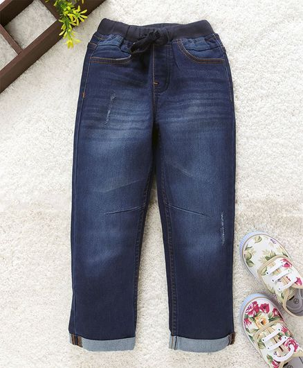 Babyhug Full Length Denim Jogger Jeans - Dark Blue