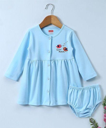 Babyhug Full Sleeves Cotton Frock With Bloomer Bird Print - Blue