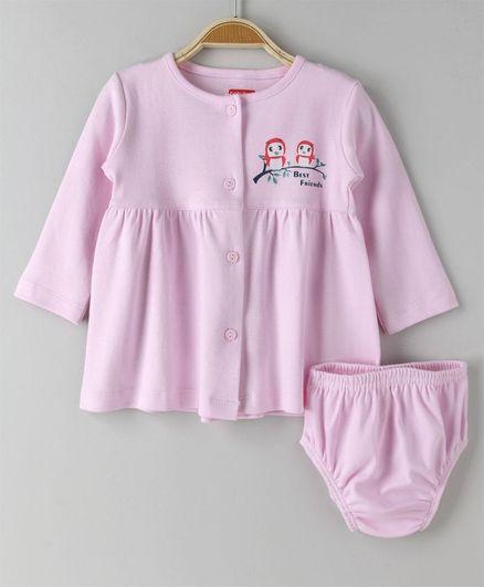 Babyhug Full Sleeves Cotton Frock With Bloomer Bird Print - Light Pink