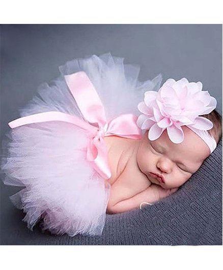 Babymoon Tutu Skirt With Headband Floral Applique - Pink