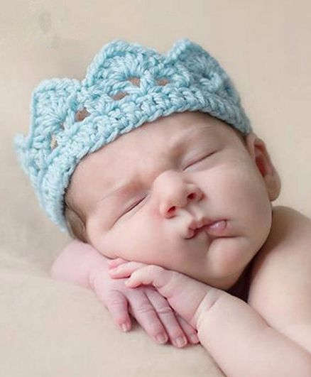 Babymoon Crown New Born Baby Photography Props Costumes Babyshpwer Gift - Blue