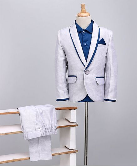 Babyoye Full Sleeves Shirt And Trouser With Blazer - Grey Royal Blue