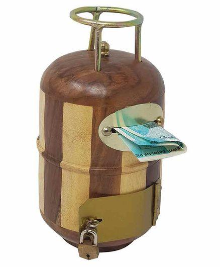 Desi Karigar Wooden Cylinder Shaped Piggy Bank - Brown