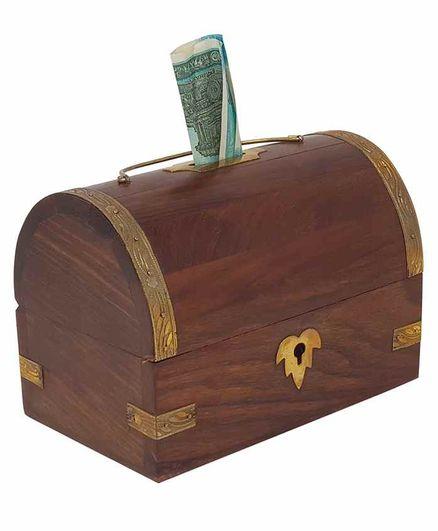 Desi Karigar Handicrafted Sheesham Wooden Money Bank - Brown