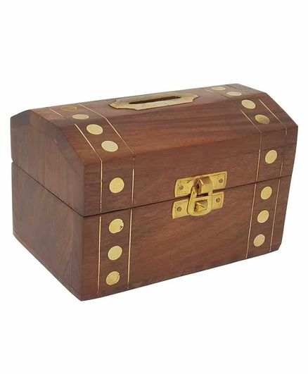 Desi Karigar Wooden Handmade Coin Money Box - Brown