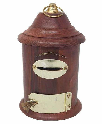 Desi Karigar Wooden Letter Post Box Money Bank - Brown