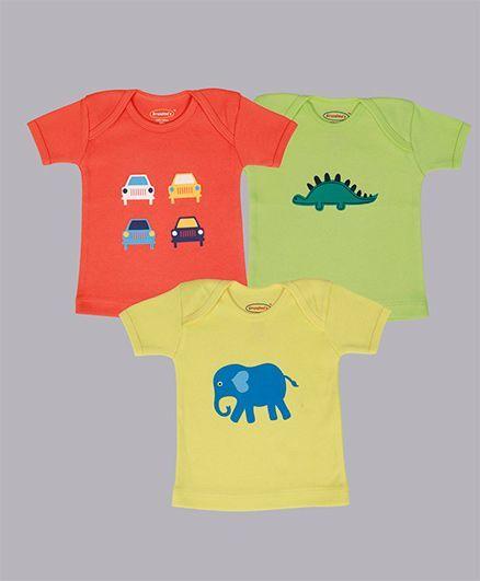 Grandma's Car Dino & Elephant Print T-Shirt Pack Of 3 - Orange Yellow Green