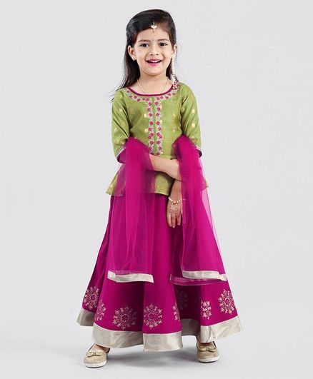 Babyhug Three Fourth Sleeves Lehenga Choli With Dupatta Floral Print & Embroidery - Pink Green