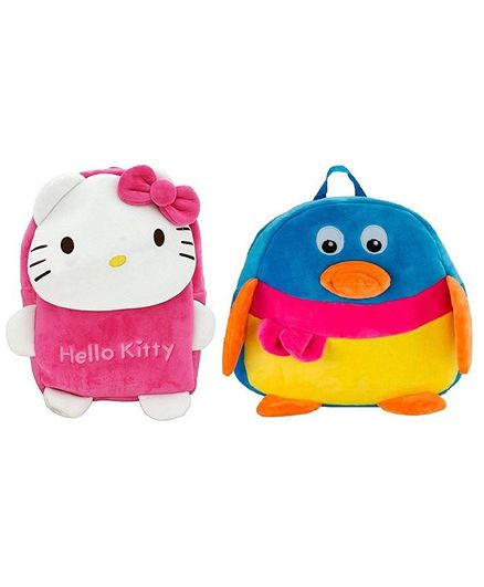 5d546778791 Frantic Velvet Nursery Bag Laughing Hello Kitty And Penguin Pack of 2 -  Height 14 Inches