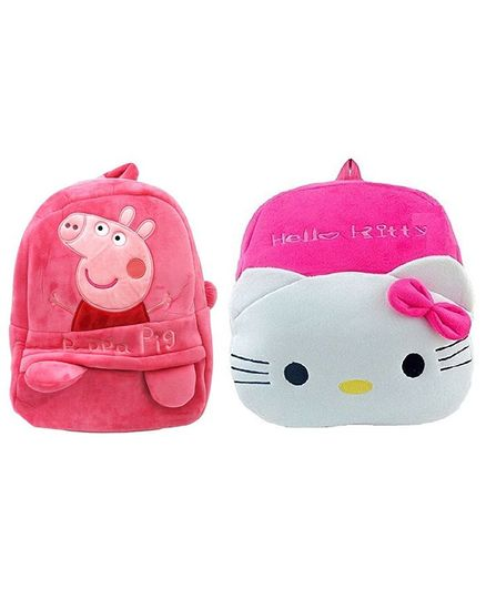 61e8c01c4ac Frantic Velvet Peppa Pig And Hello Kitty Nursery Bag Pink Pack of 2 -  Height 14 Inches