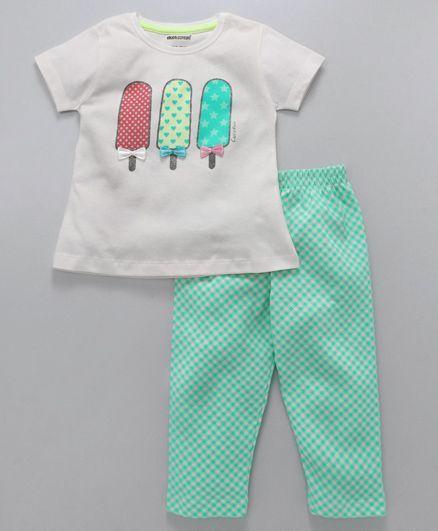 Cucumber Short Sleeves Top And Checks Pajama Ice Cream Print - White Green