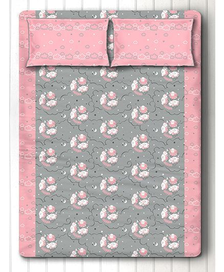 Silverlinen Counting Sheep Double Bed Sheet With Two Pillow Covers - Pink