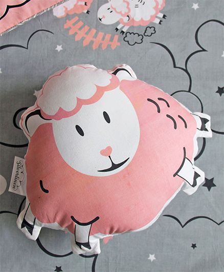 Silverlinen Counting Sheep Shape Cushion - Pink