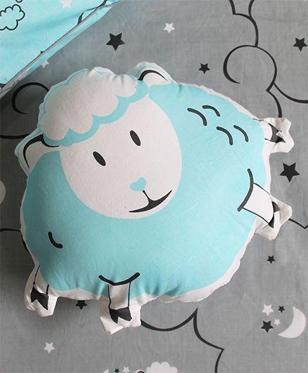 Silverlinen Counting Sheep Shape Cushion - Blue