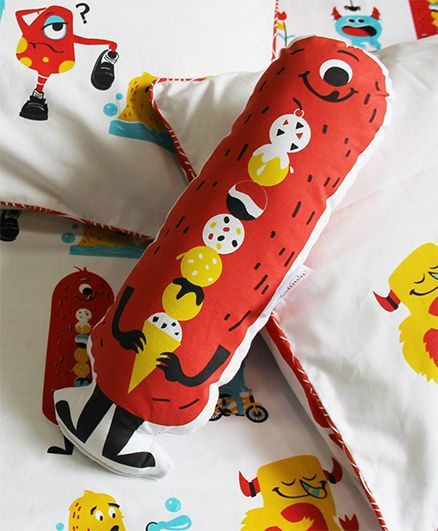Silverlinen Silly Monsters Shape Cushion - Red