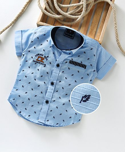 334f82075a1 Enfance All Over Leaves Printed Shirt - Blue