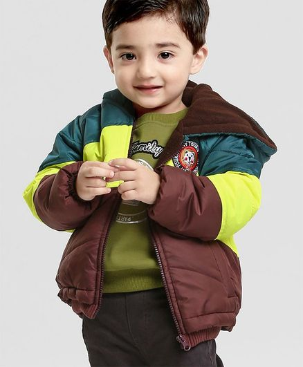 Babyhug Full Sleeves Hooded Jacket Tiny Tourist Patch - Green Brown