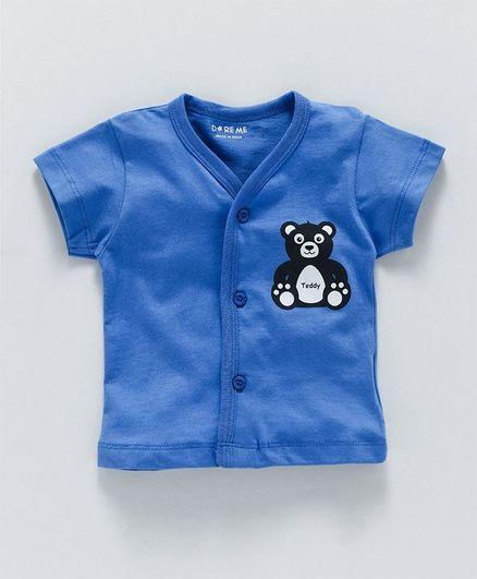 Doreme Half Sleeves Vest Teddy Print - Blue