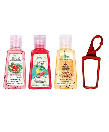 Kleanse's Anti Bacterial Hand Sanitizer With Silicone Holder Pack of 3 - 30 ml