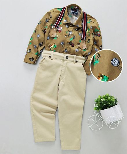Enfance All Over Printed Full Sleeves Shirt & Pant with Suspenders - Khaki & Cream