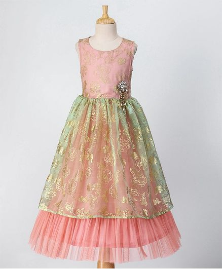 Babyoye Sleeveless Floral Layered Ethnic Gown With Studded Brooch - Peach Green