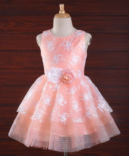 Bluebell Sleeveless Party Frock Floral Embroidery - Peach