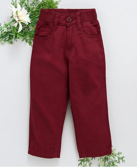 Babyhug Full Length Trouser With Adjustable Elastic Waist - Maroon
