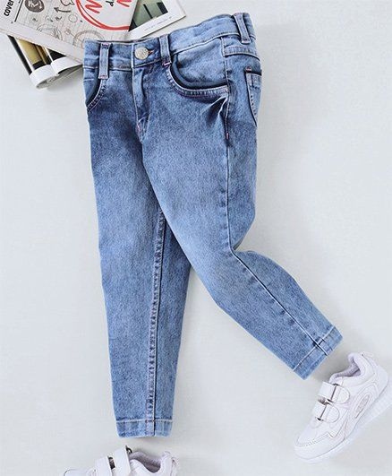 Babyhug Adjustable Elastic Full Length Jeans - Light Blue