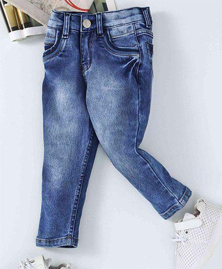 Babyhug Jeans With Adjustable Elastic - Dark Blue