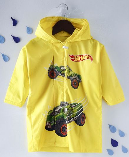 Babyhug Full Sleeves Hooded Raincoat Hot Wheels Print - Yellow