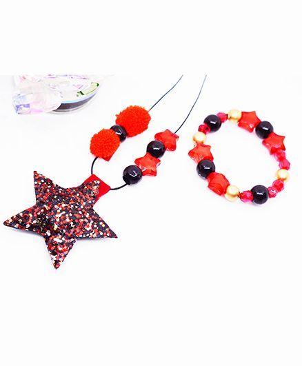 Little Tresses Star & Pompom Pendant And Bracelet Set - Red & Black