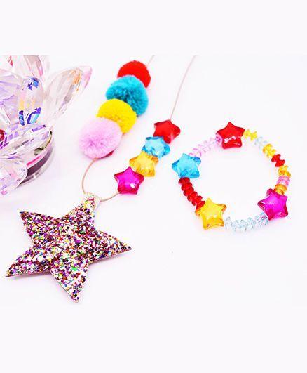 Little Tresses Star & Pompom Pendant And Bracelet Set - Multicolor