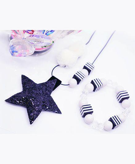 Little Tresses Star & Pompom Pendant And Bracelet Set - Blue & White