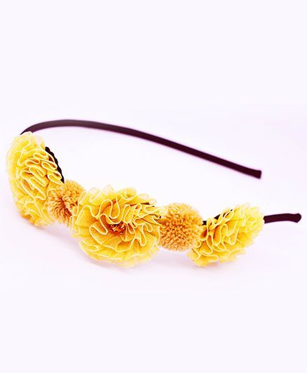 Little Tresses Trio Flowers And Pom Pom Headband - Golden & Brown