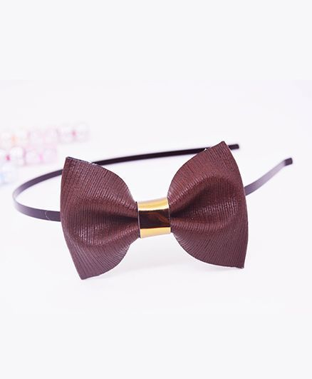 Little Tresses Medium Bow Hairband - Brown